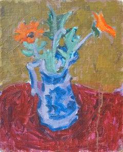 Marigolds in a Delft Jug
