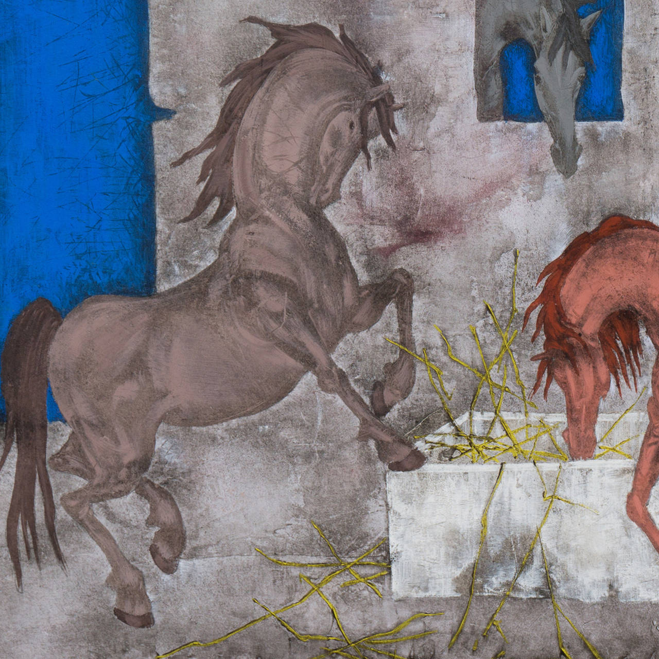 Horses in a Stable - Painting by Felix Varla