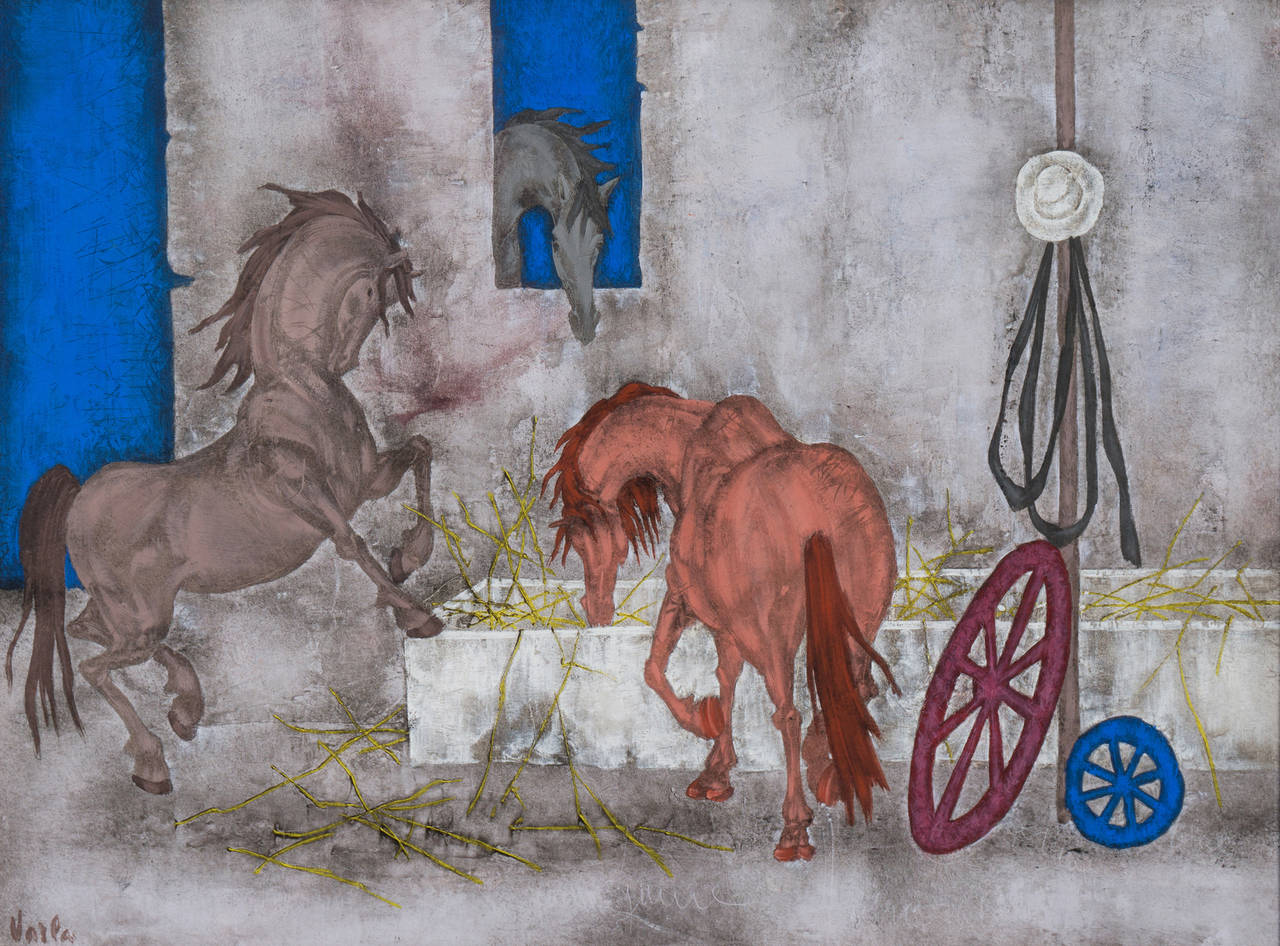 Felix Varla Animal Painting - Horses in a Stable