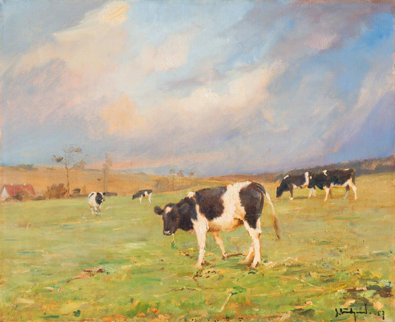 'Cattle at Pasture', Danish Impressionist Landscape oil, Paris, France