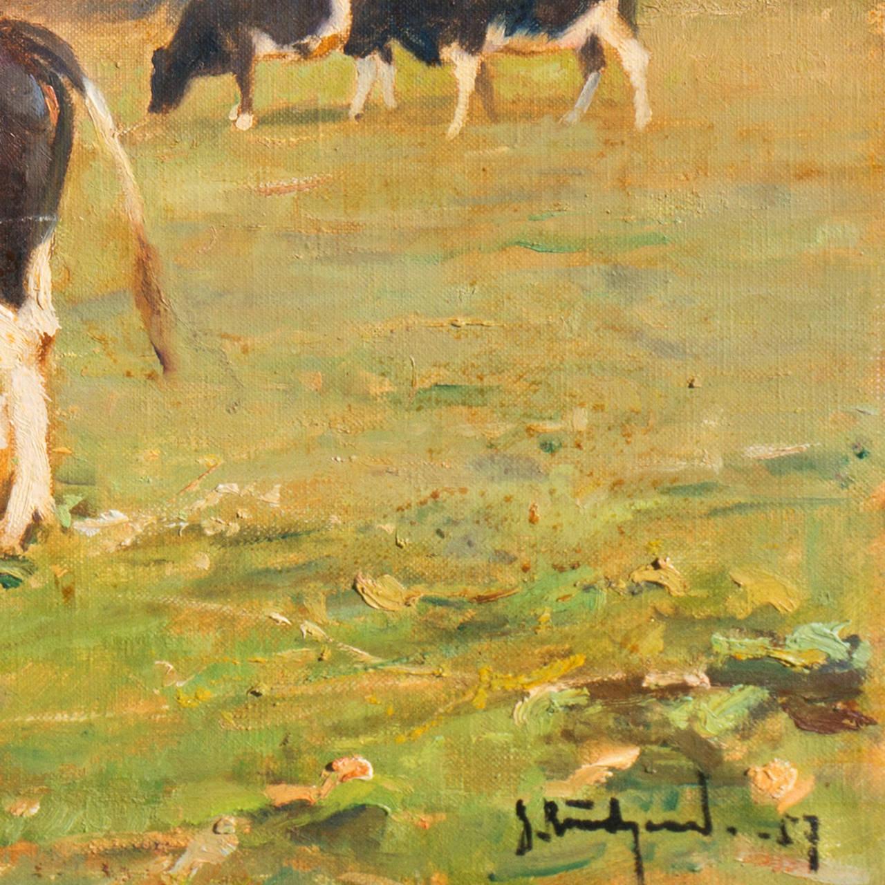'Cattle at Pasture', Danish Impressionist Landscape oil, Paris, France  - Painting by Gunnar Bundgaard
