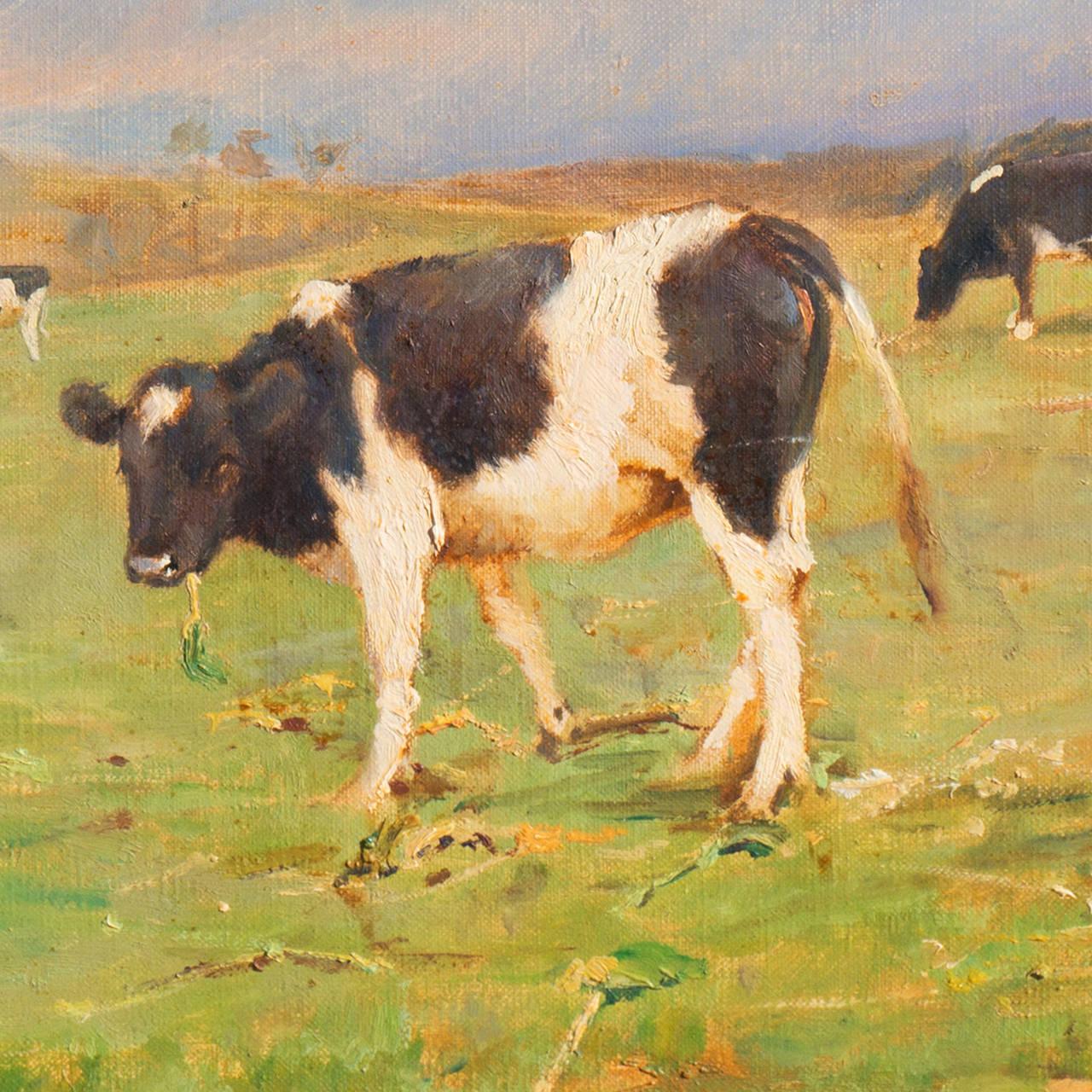 'Cattle at Pasture', Danish Impressionist Landscape oil, Paris, France  - Black Animal Painting by Gunnar Bundgaard
