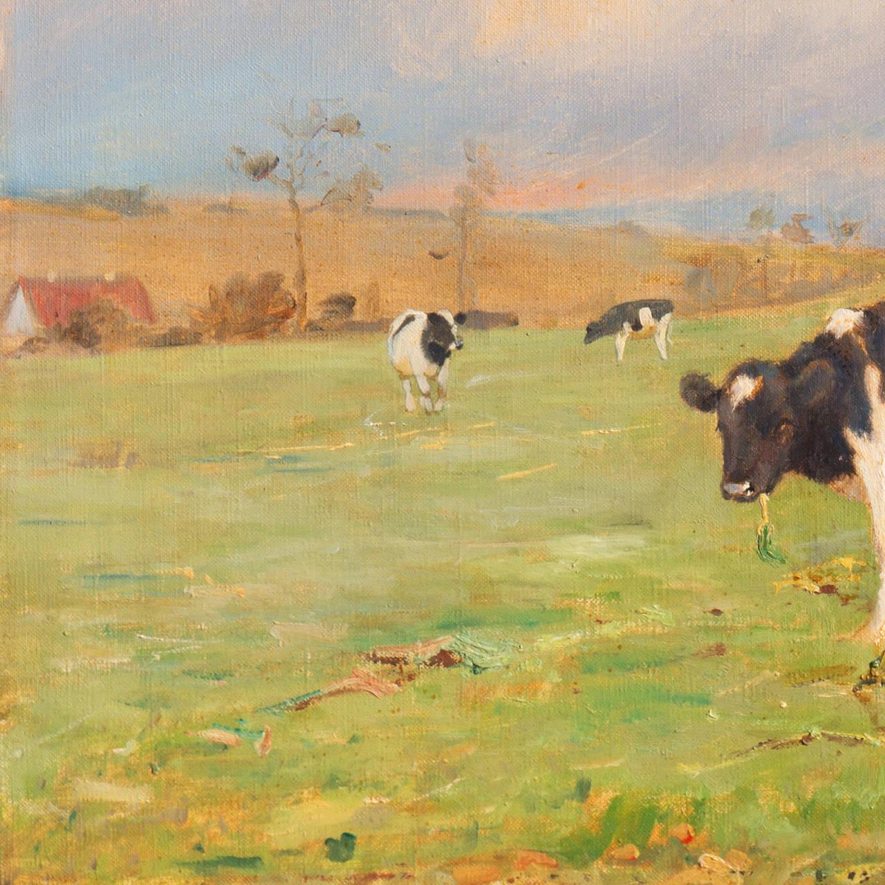 'Cattle at Pasture', Danish Impressionist Landscape oil, Paris, France  For Sale 1