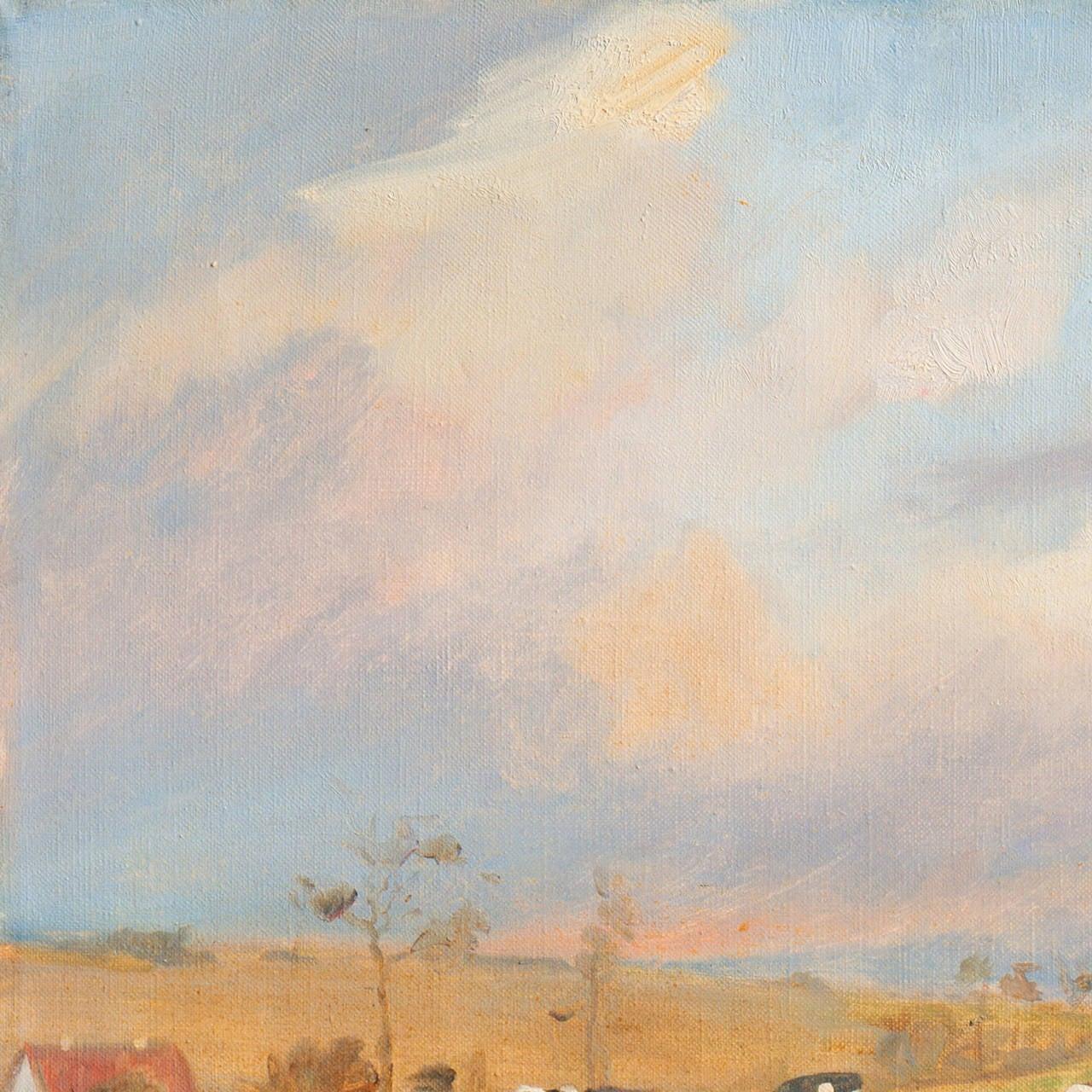 'Cattle at Pasture', Danish Impressionist Landscape oil, Paris, France  For Sale 2