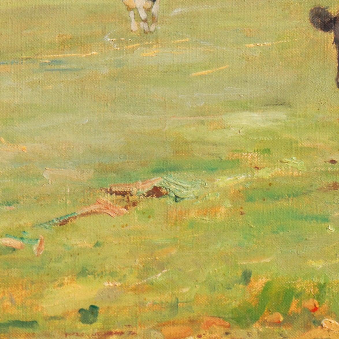 'Cattle at Pasture', Danish Impressionist Landscape oil, Paris, France  For Sale 3