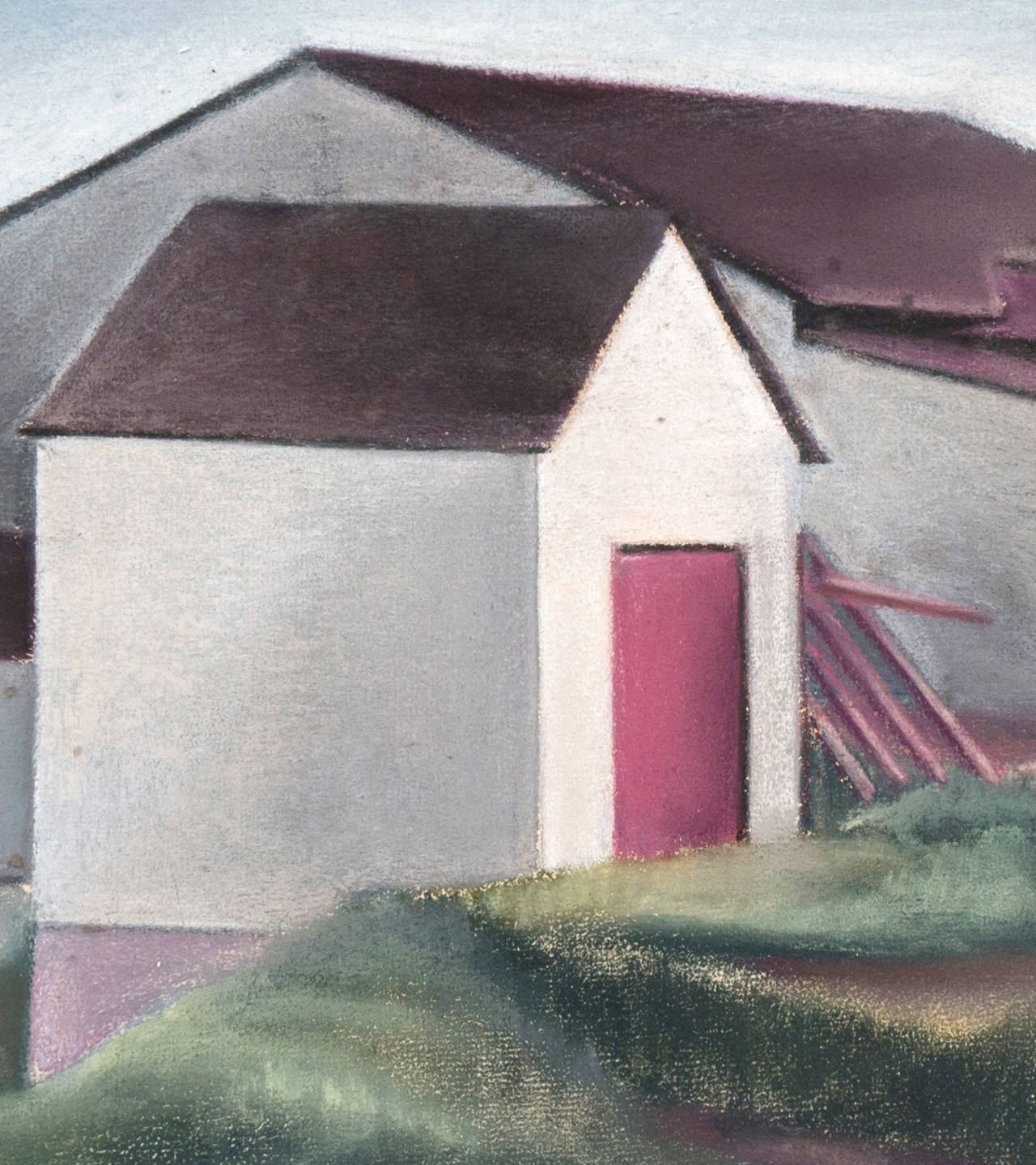 White Barn - Painting by Thomas Flavell