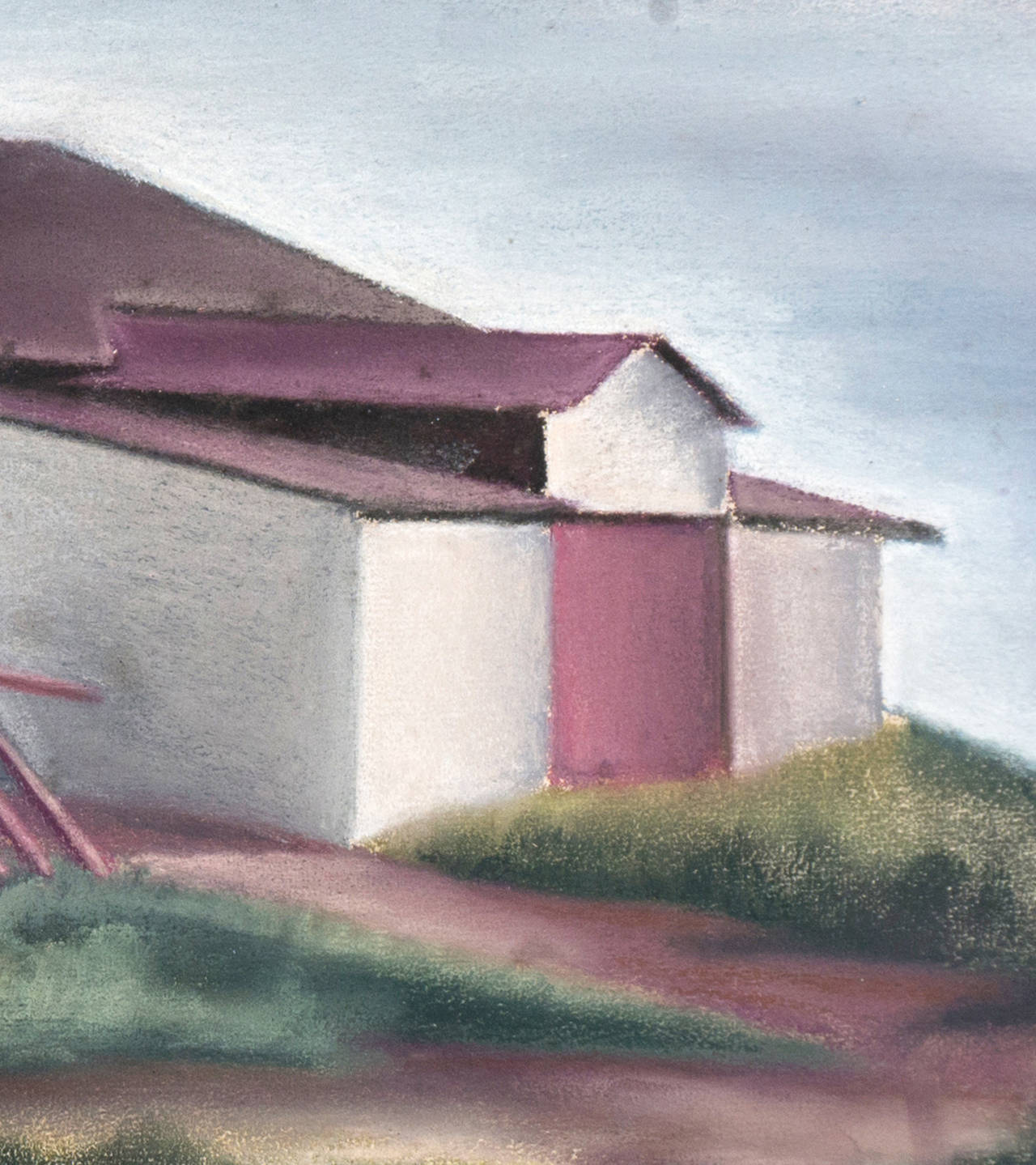 White Barn - Gray Landscape Painting by Thomas Flavell