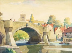 'Aylesford in the County of Kent', English Watercolor, Medieval Stone Bridge