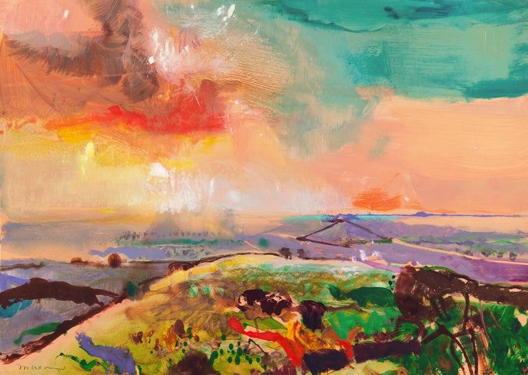 John Maxon Landscape Print - 'Monterey at Sunset', California Post-Impressionist Landscape