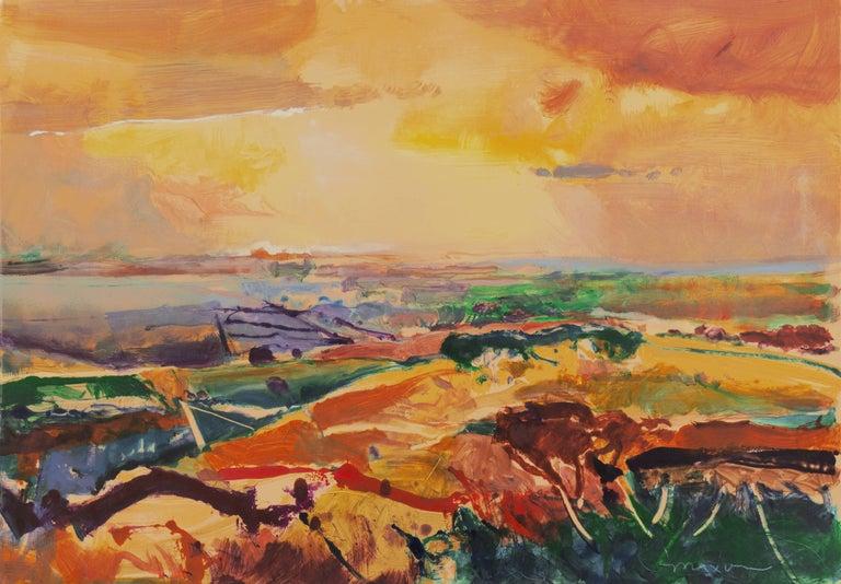 John Maxon Abstract Print - 'Monterey at Sunset', California Post-Impressionist Landscape, San Jose