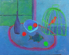 American Modernist Blue Interior, 'Still Life and Songbird'