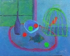 'Still Life and Songbird', American Modernist Blue Interior