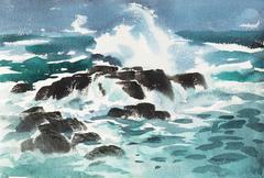 Pacific Surf   (Seascape, Modernism, California, Ocean, Blue)