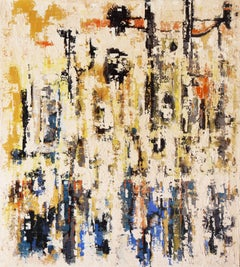 'Abstract in Indigo and Ivory', San Francisco Bay Area Modernist oil