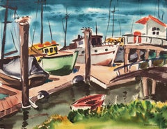 Modernist Watercolor of Monterey Dock, 'Afternoon at Decker's'  Woman Artist