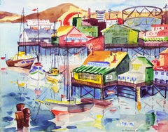 Modernist Watercolor of Fisherman's Wharf, Monterey by California Woman Artist