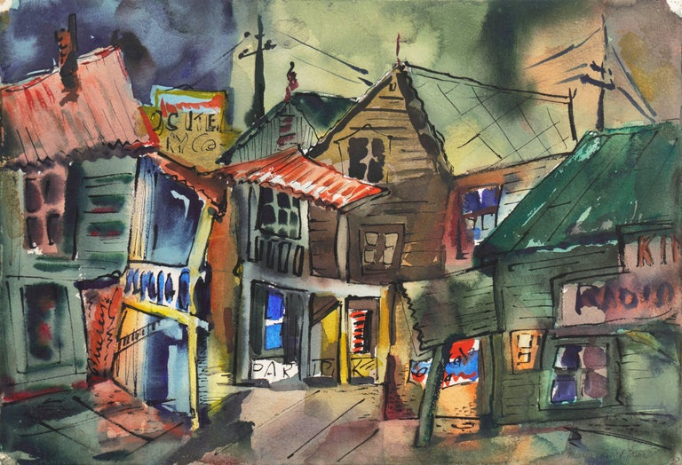 """A Modernist ink and watercolor on Arches paper landscape showing a view of the historic Locke district in saturated shades of jade and forest green.  Signed lower right, """"Muriel Backman"""" and titled verso.   This notable California woman artist"""