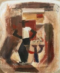 American Modernist Gouache, 'Cubist Figural'