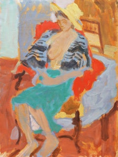 The Striped Shawl   (Modernism, Post-Impressionism, Interior, red, yellow, blue)