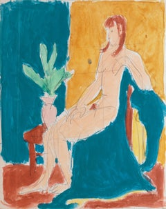 Seated Nude in Interior   (Post-Impressionism, Mid-century, red, yellow, blue)