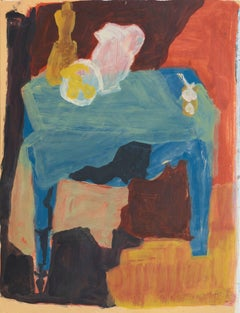 Blue Table with Still Life   (Modernism, Mid-century, Post-Impressionism)