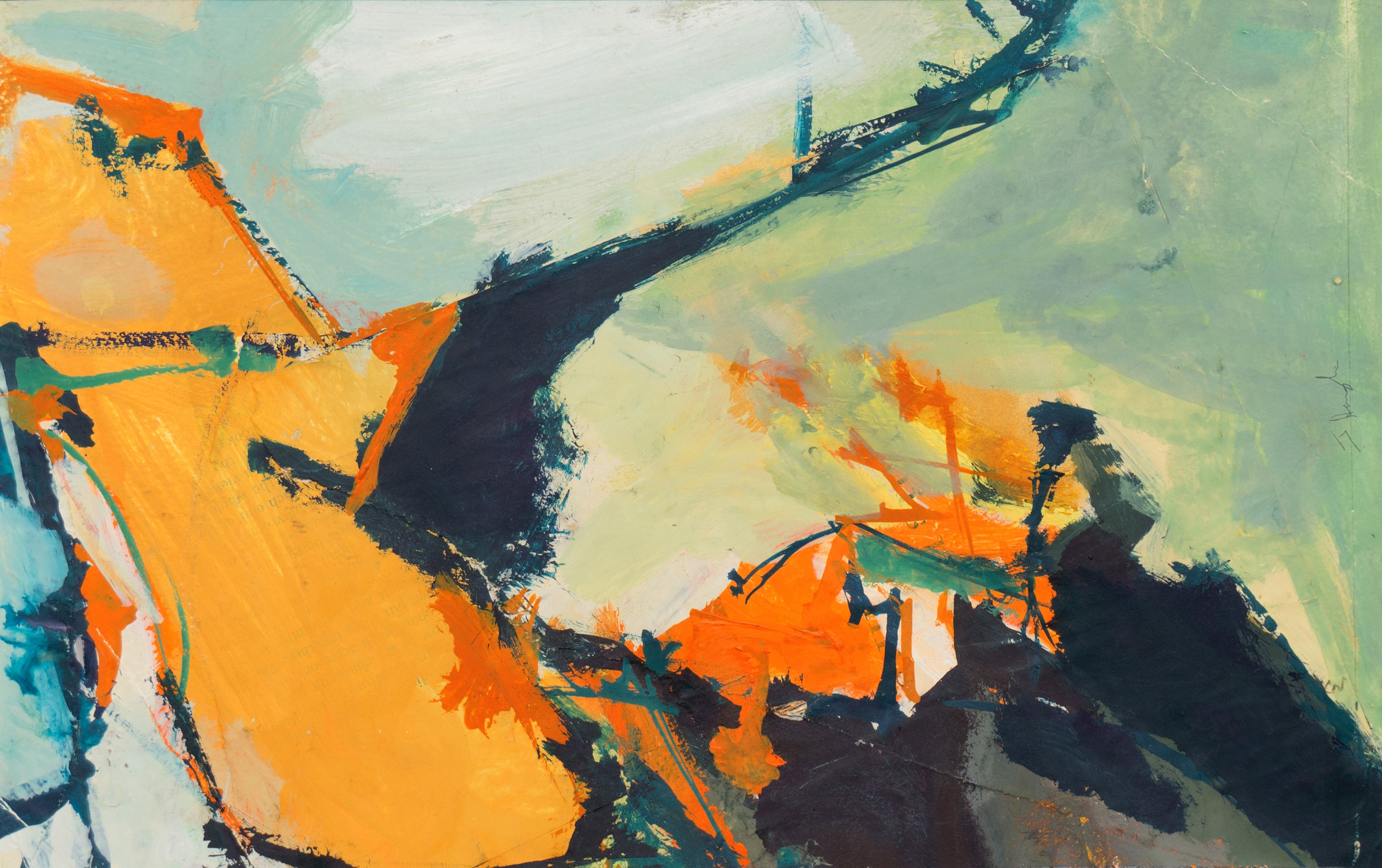 'Abstract in Coral and Jade', American School