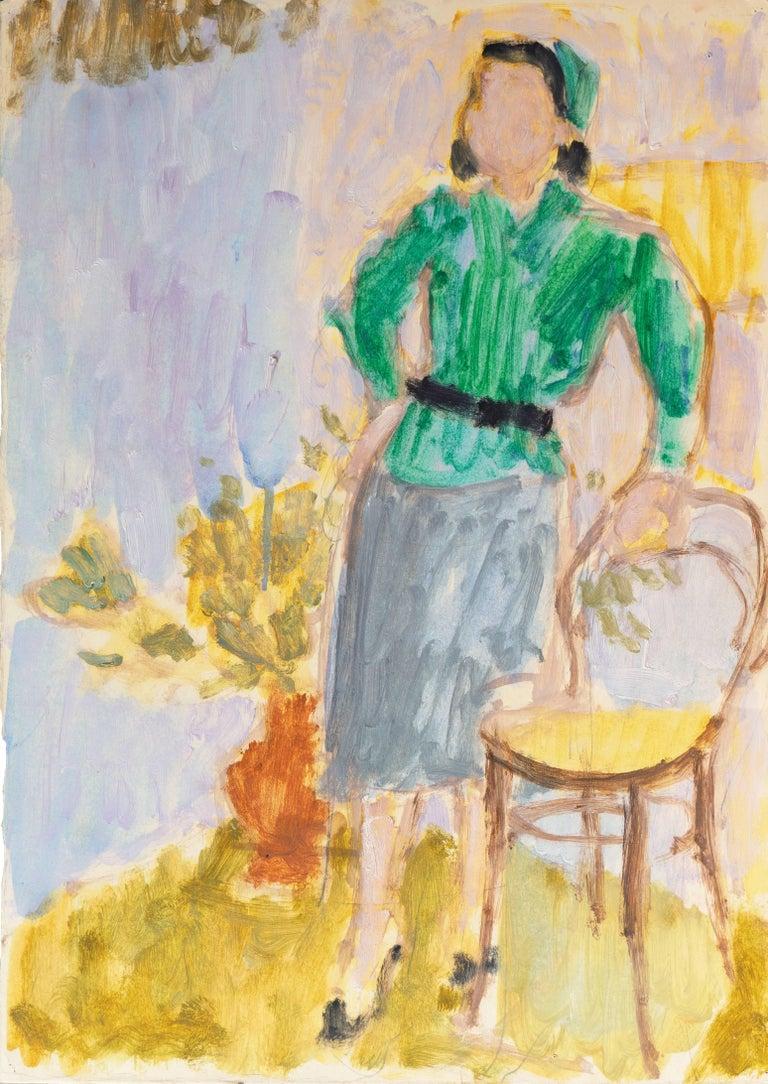 Victor Di Gesu Figurative Painting - California Post-Impressionist 'Woman in Green' Louvre, Académie Chaumière, LACMA