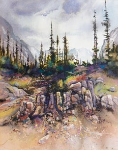 Large Western watercolor, 'Grand Tetons, Wyoming', AWS, NWS Artist