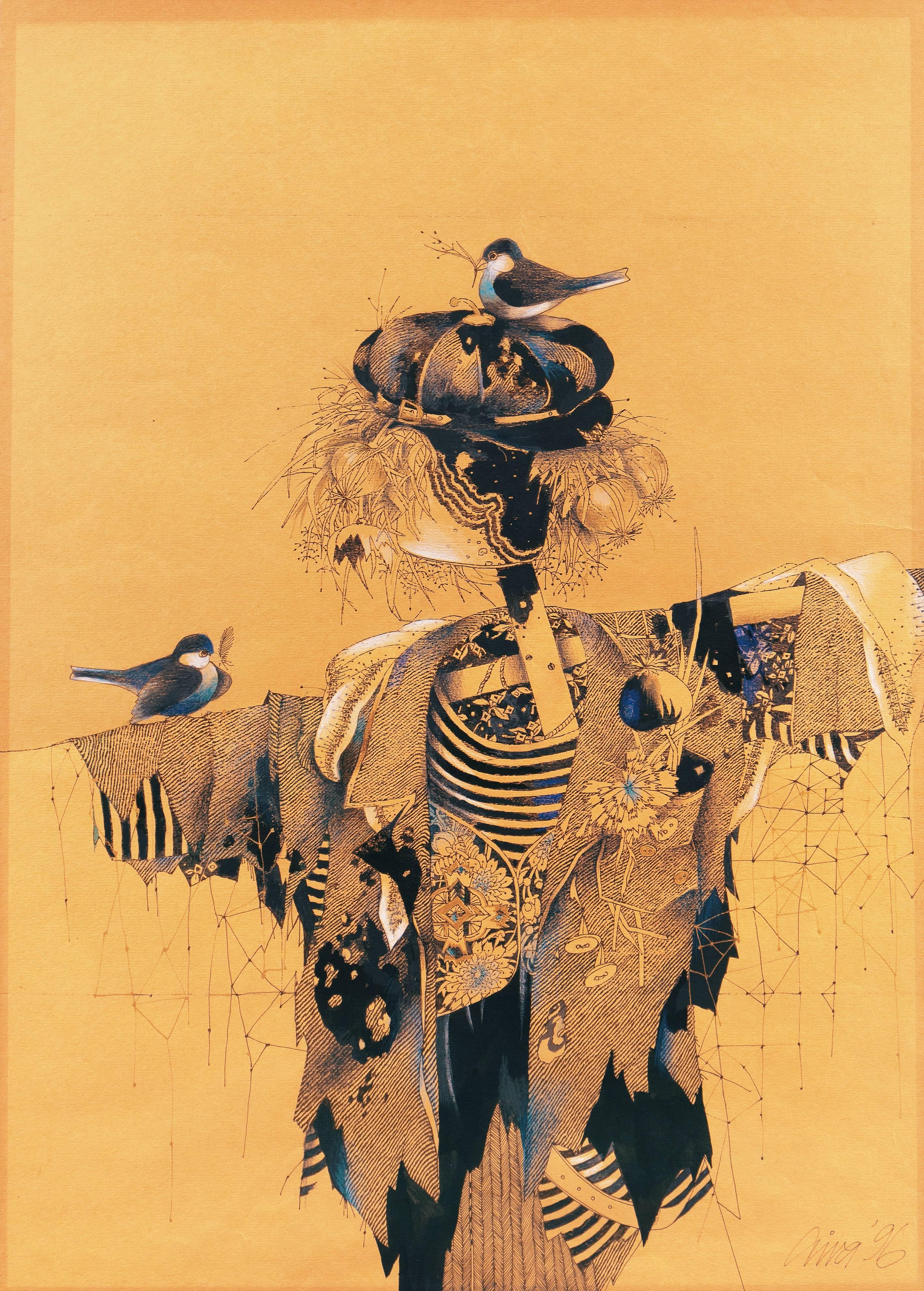 Scarecrow with Nesting Birds