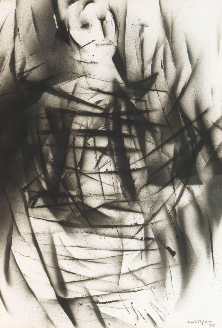 Signed bottom right 'G. Distefano' and dated 1965.  An exploration of tonality using airbrush techniques and negative space, sweeping lines define a figure.
