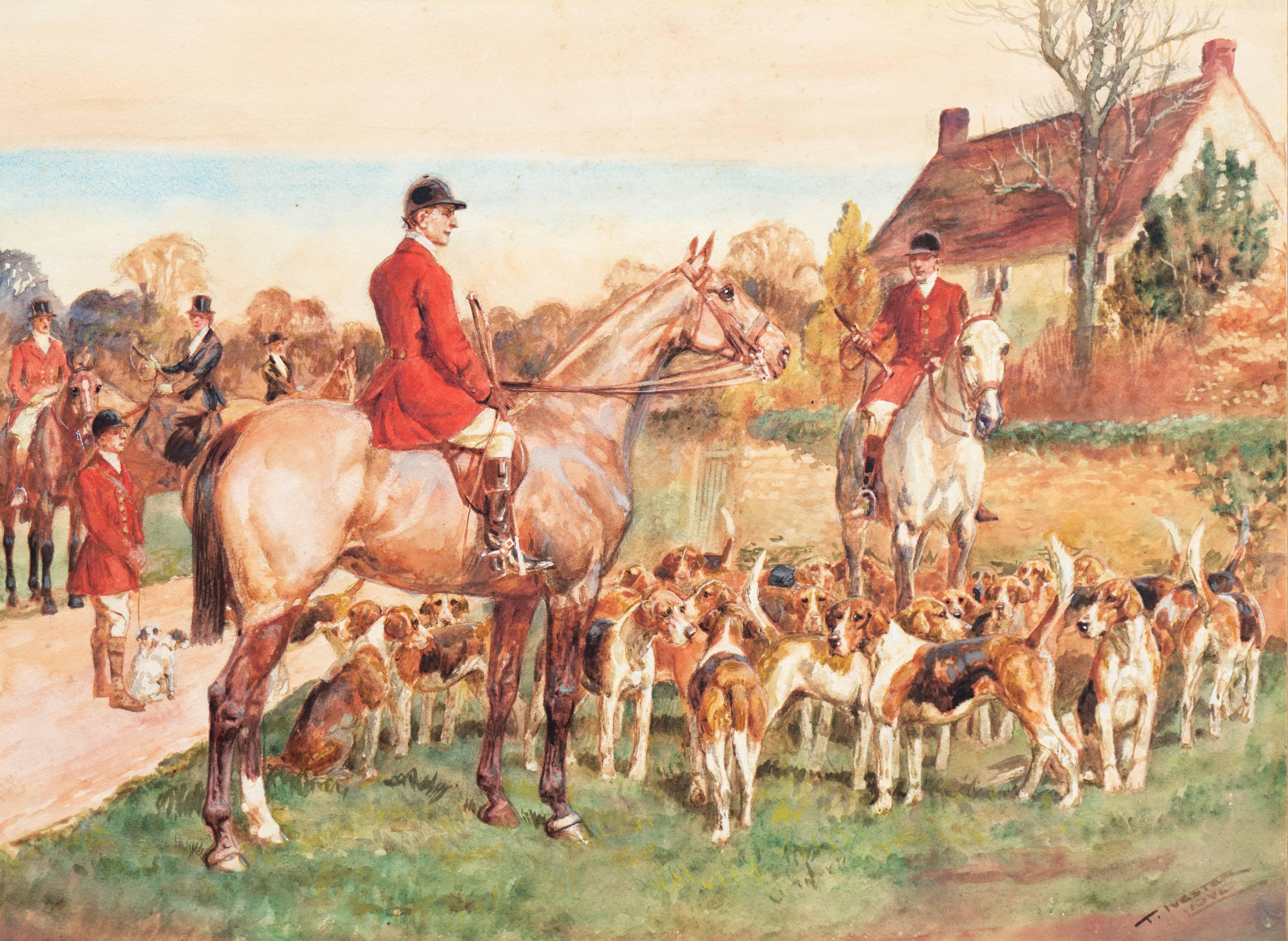 'The Meet', English Edwardian Fox Hunting, Equestrian Watercolor with Horses