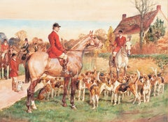 The Meet   (Equestrian, Fox Hunting, Beagling, British, Horse, Dog, Realism)