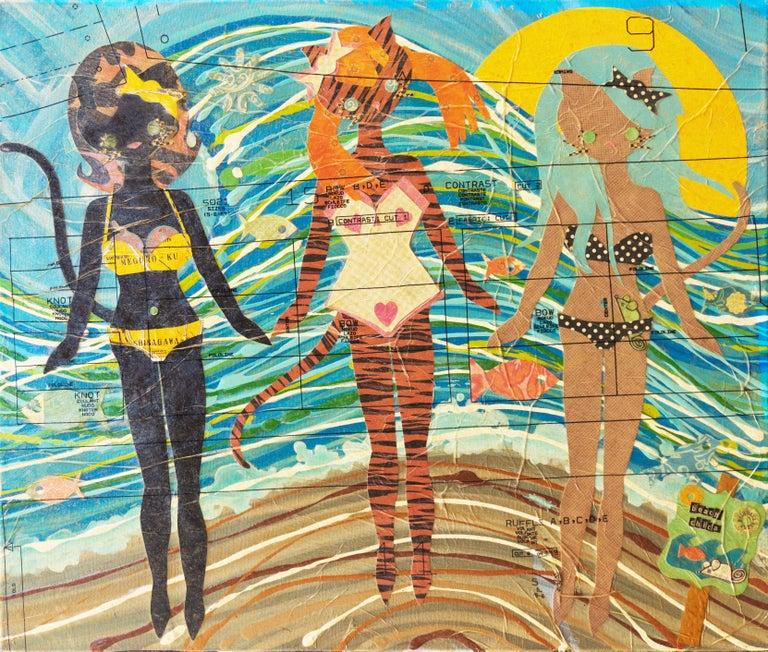 'Kitties at the Beach', Contemporary California artist - Mixed Media Art by Cristina Sayers