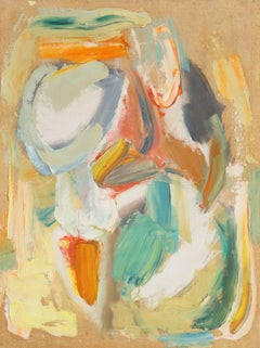 'Abstract in Ochre, Rust and Jade', Mid-century Modernist American Woman Artist