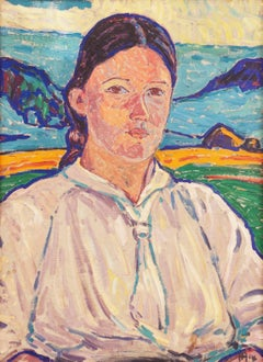 Danish Post-Impressionist oil 'Study of a Young Woman', Karlsruhe, Berlin