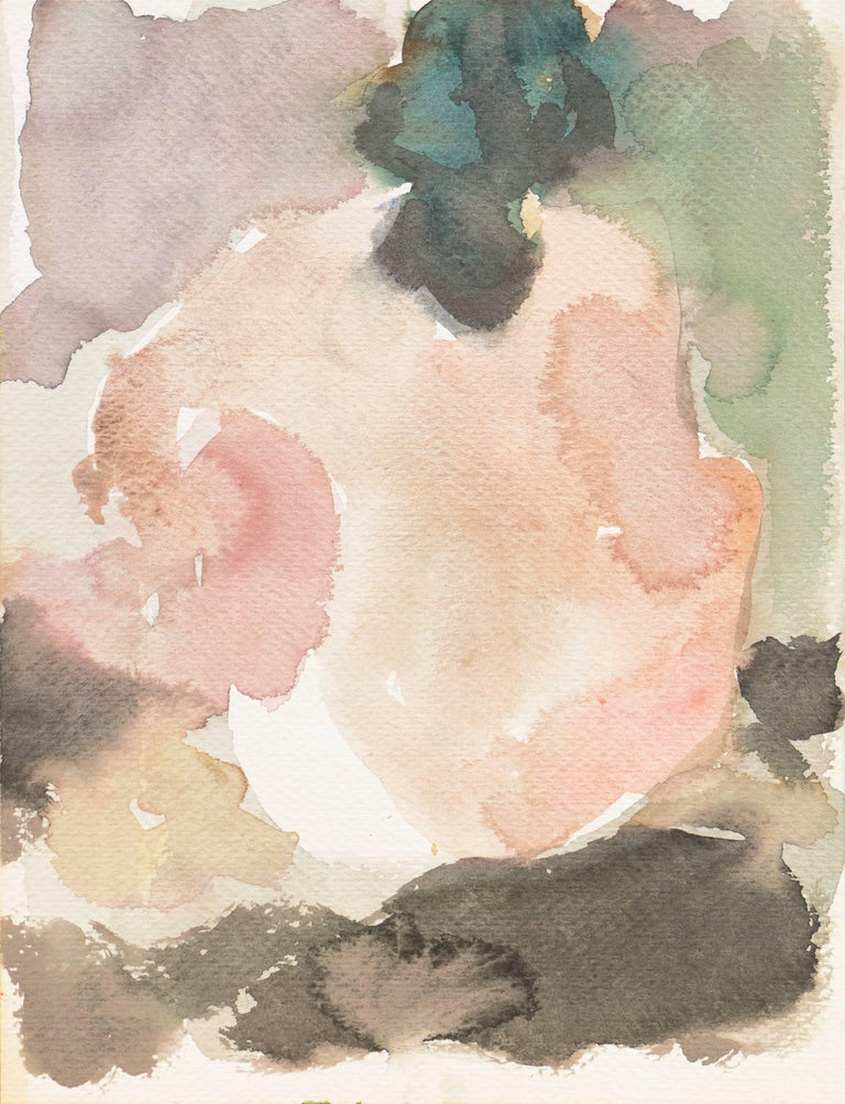 Victor Di Gesu estate stamp verso.  Watercolor nude showing a woman seated with her back to the viewer against a background of dusty rose, sepia, and olive green.  Winner of the Prix Othon Friesz, Victor di Gesu first attended the Chouinard Art