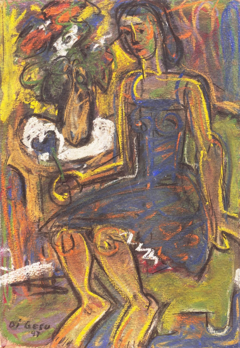 """Pastel figurative showing a young woman in a cobalt dress seated in an olive green chair and holding a flower, beside a vase of flowers on a side-table.  Signed lower left, """"Di Gesu"""" and dated 1947.  Winner of the Prix Othon Friesz, Victor di Gesu"""