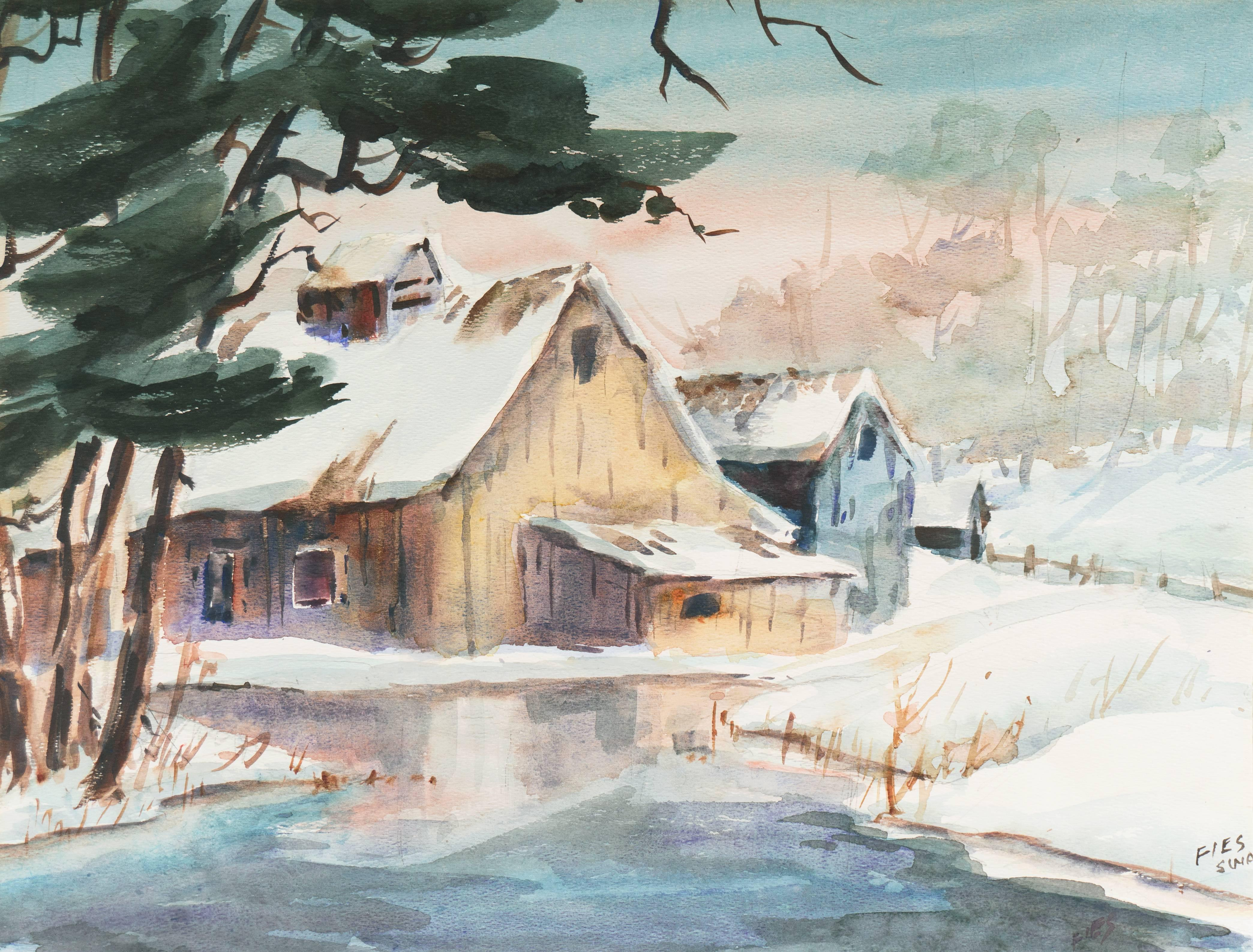 'A Snow Covered Barn', Society of Watercolor Artists, Rural Winter, California