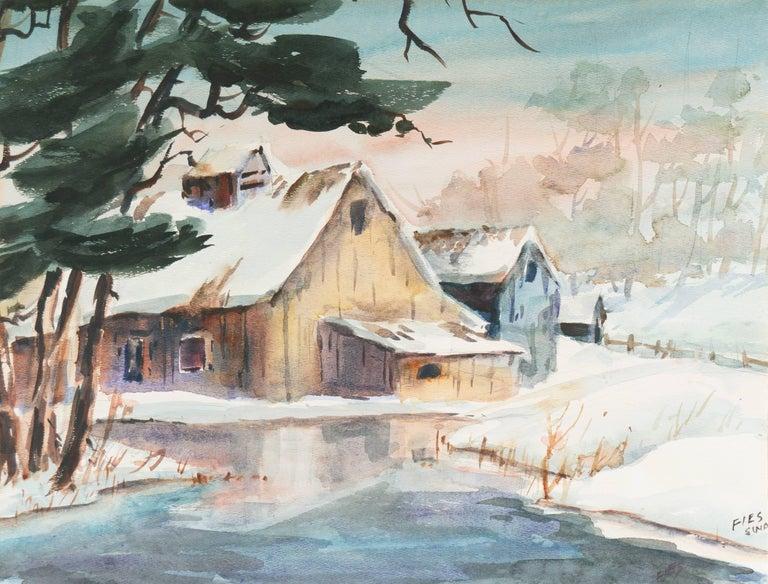 Gladys Louise Bowman Fies Landscape Art - Barn in Winter