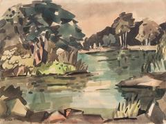 Water's Edge   (Modernism, Landscape, Lake, California, Woman Artist)