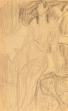 Seated Nude with Mandolin   (Post-Impressionism, Mid-Century, Figural, Graphite)