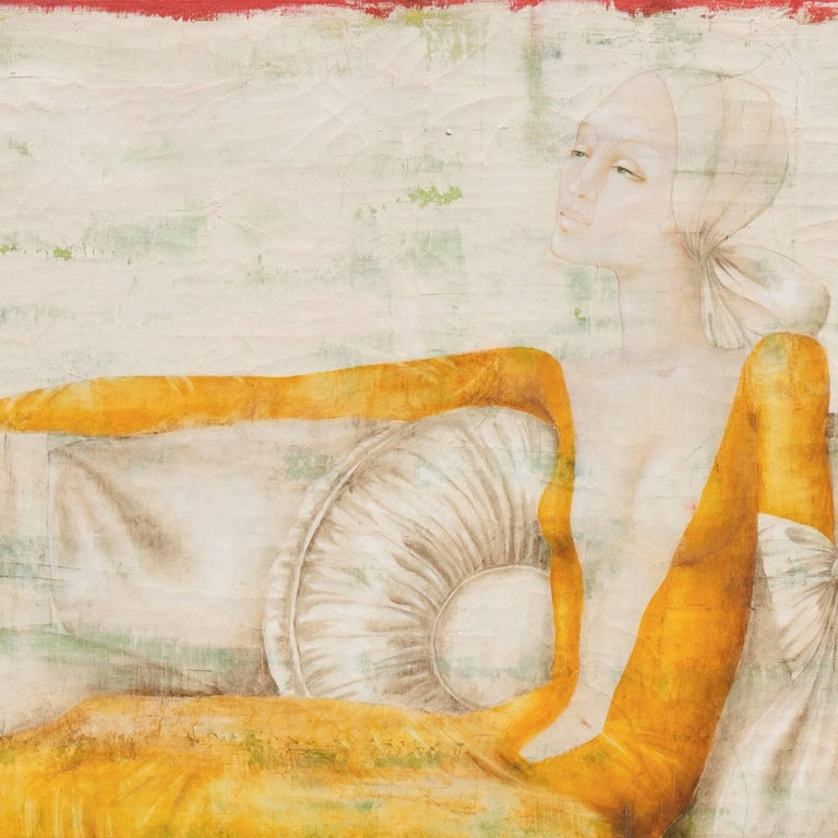 'Woman Seated', French Modernist Fashion Portrait in Ivory and Gold, Paris For Sale 1