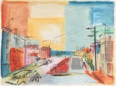 'San Francisco', Mid-century California Modernist Watercolor