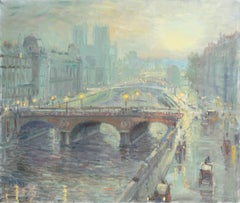 Paris, Impressionist oil of the Seine with the Pont Neuf and Notre Dame
