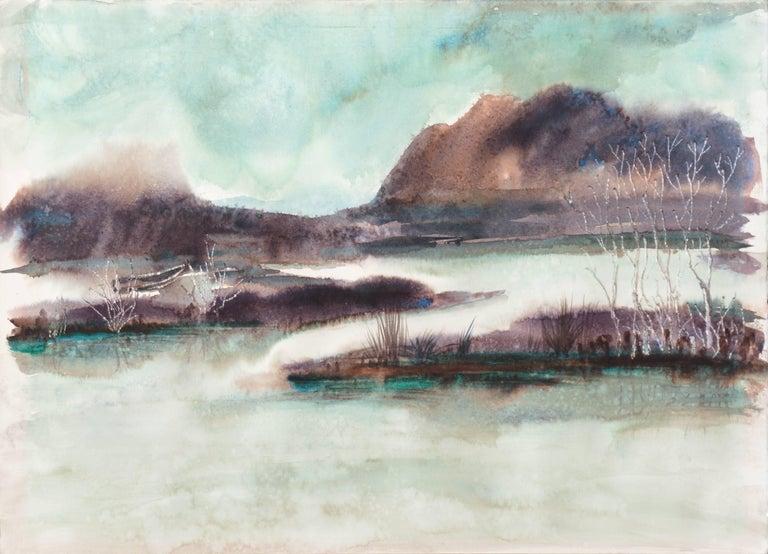 Gisela Embree Landscape Art - 'Rain', Los Gatos Woman Artist, China, Germany, Santa Cruz, California