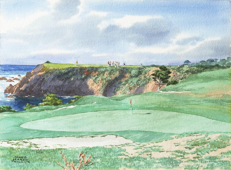 James March Phillips Landscape Art - Playing the 17th Hole, Pebble Beach