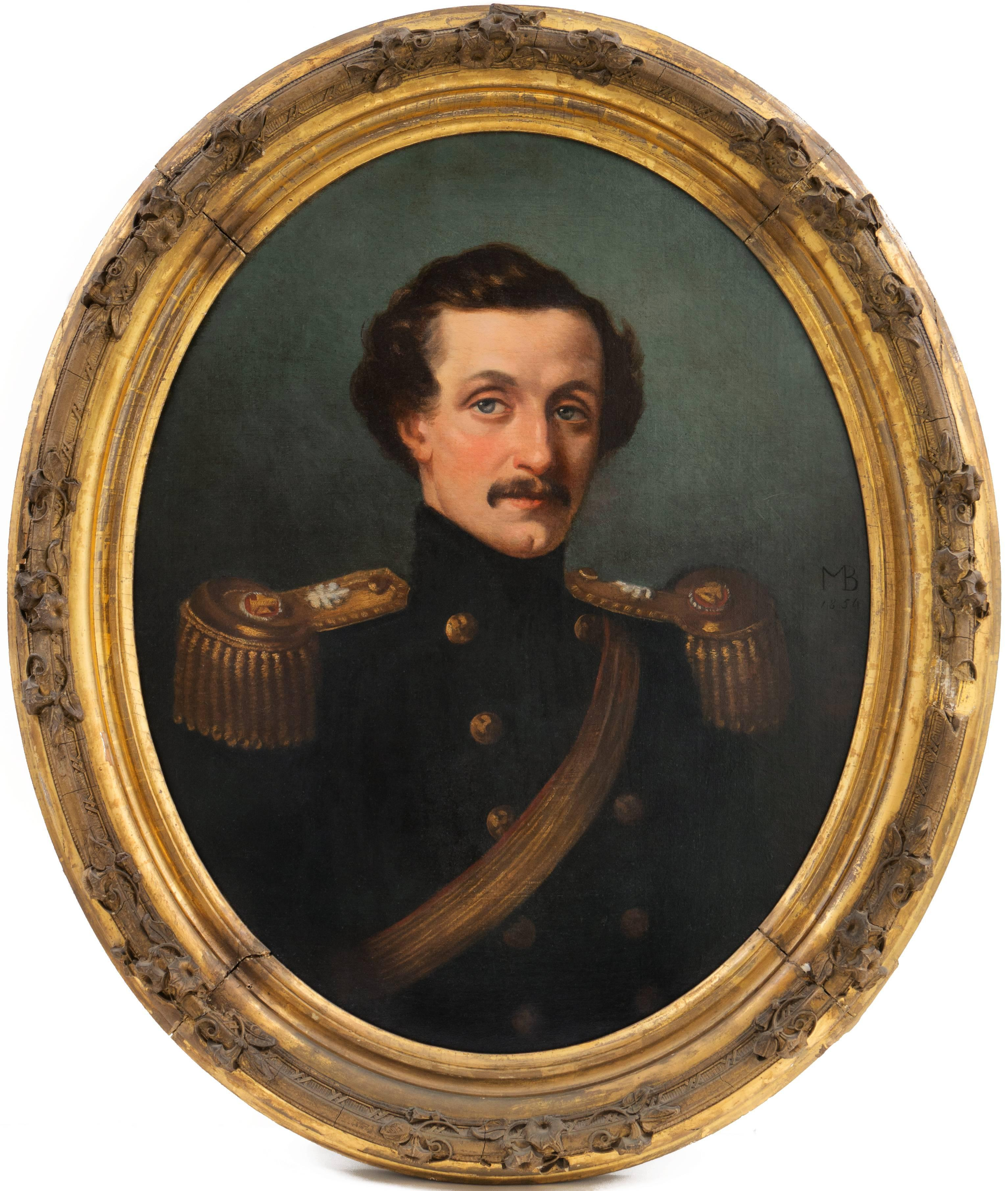 'Portrait of a Cavalry Officer', Union Army, Militaria, American School Oil