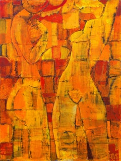 'Women in Coral', Ecole Nationale Superieure des Beaux-Arts, Large Modernist Oil
