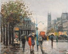 Paris in the Rain   (Mid-century, Post-Impressionism, Framed, France)
