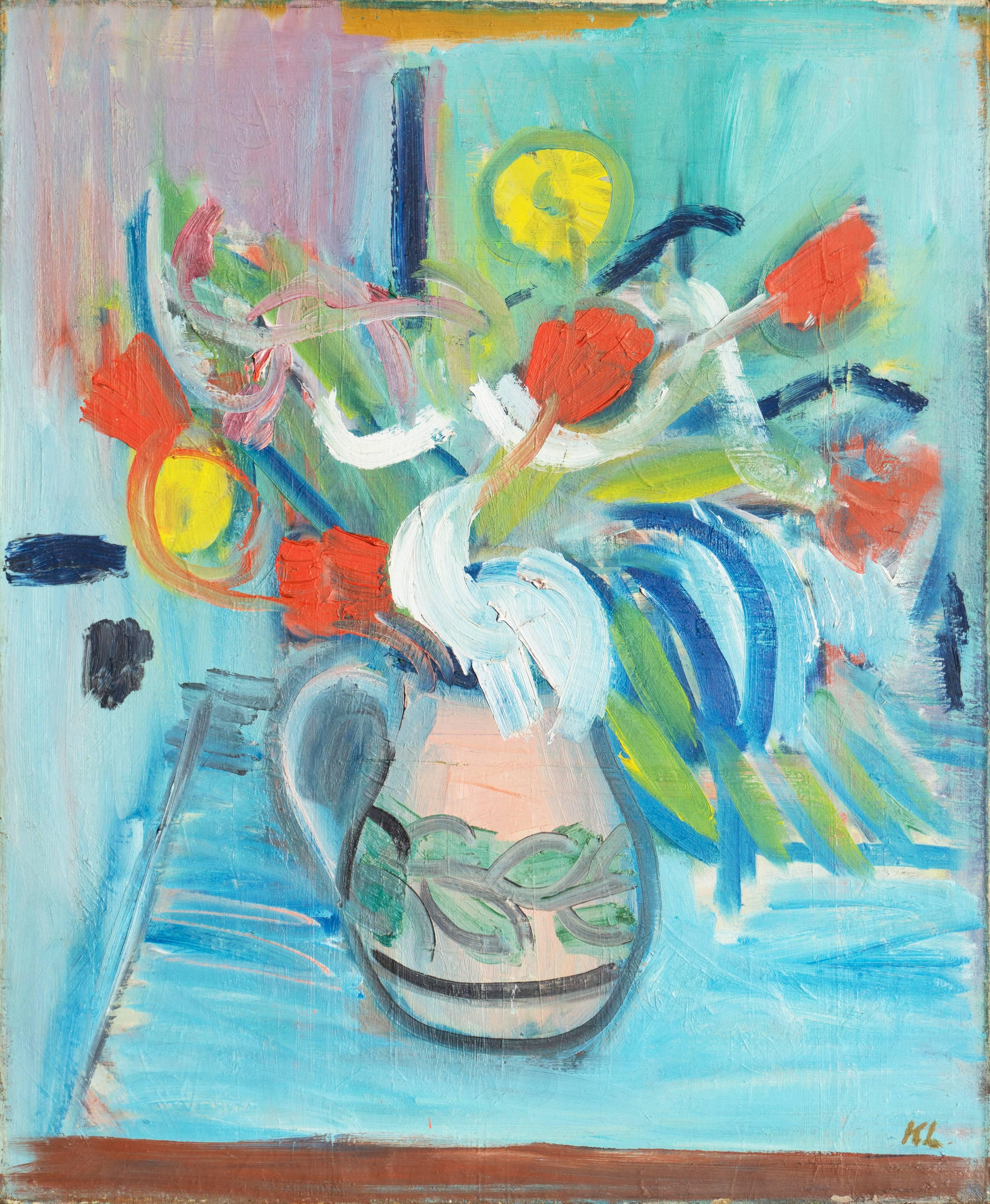 'Red and Yellow Tulips in a Blue Room', Salon d'Automne, Charlottenborg, Oslo